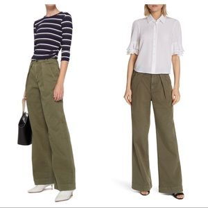 FRAME Pleated Wide Leg Trousers Army Green 24 NWT